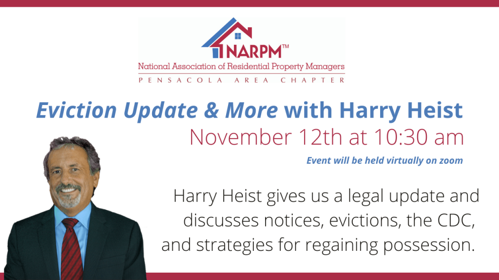 November NARPM Meeting Eviction Update and More with Harry Heist